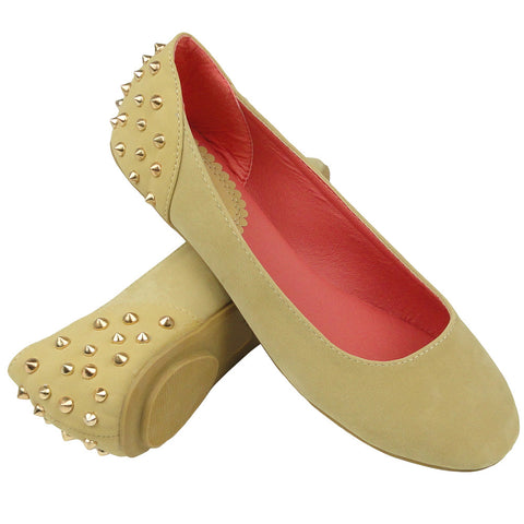 Womens Ballet Flats Back Metal Studded Slip On Beige