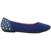 Womens Studded Spike Ballet Flats Blue