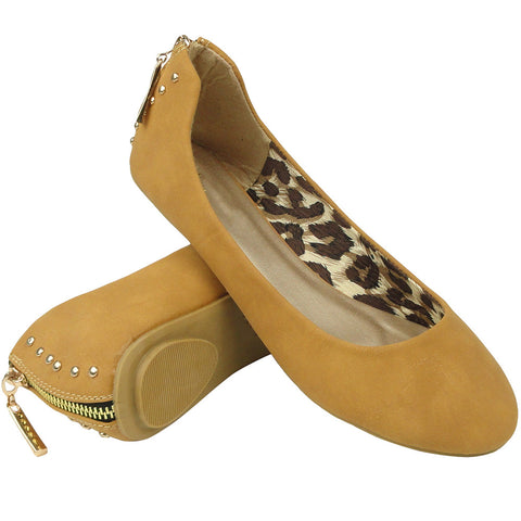 Womens Ballet Flats Round Toe Back Studded Back Zipper Tan
