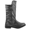 Girls Leather Knee High Riding Boots Black