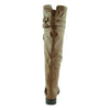Womens Block Heel Knee High Riding Boots Tan