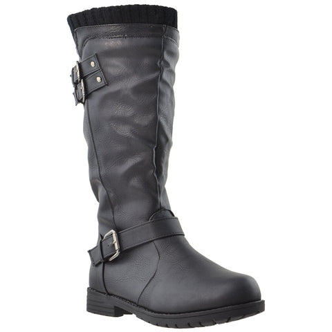 Girls Knee High Boots w/ Vintage Buckles Accent Black
