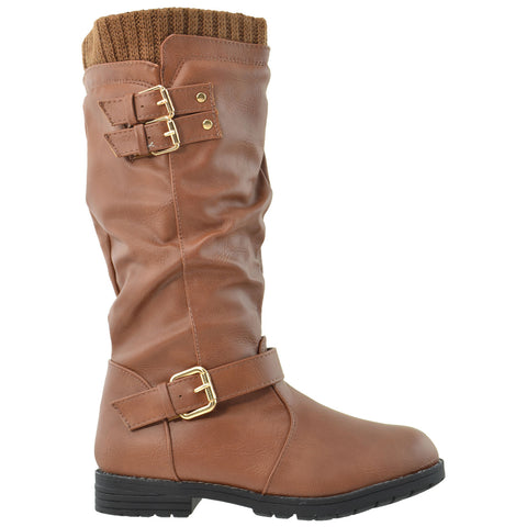 Girls Knee High Boots w/ Vintage Buckles Accent Brown