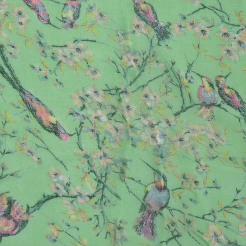 Womens Floral Print Oblong Scarf Green