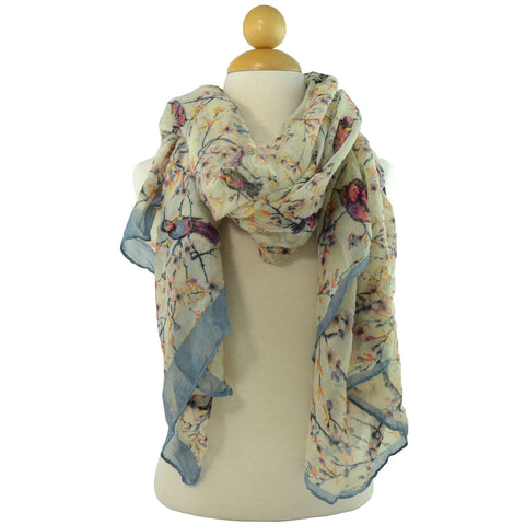 Womens Floral Print Oblong Scarf White