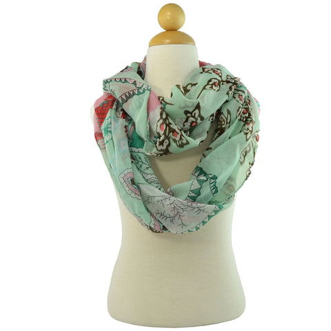 Womens Floral Print Infinity Scarf Green