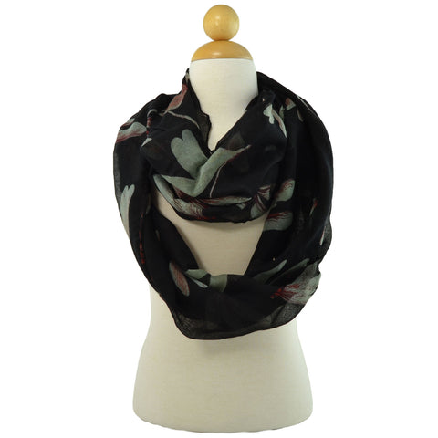Womens Dragonfly Print Infinity Scarf Black
