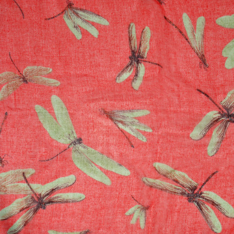 Womens Dragonfly Print Infinity Scarf Red