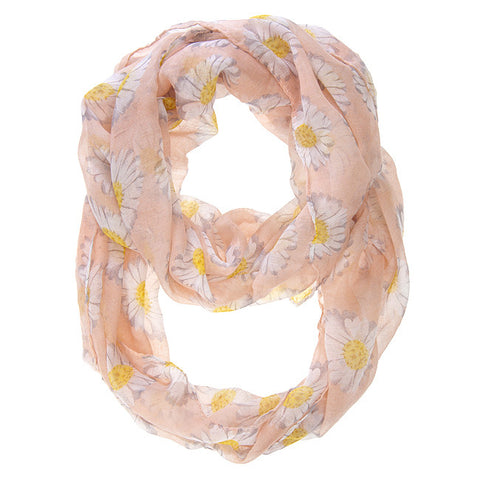 Womens Sunflower Print Infinity Scarf Pink