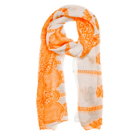 Womens Oblong Scarf Orange