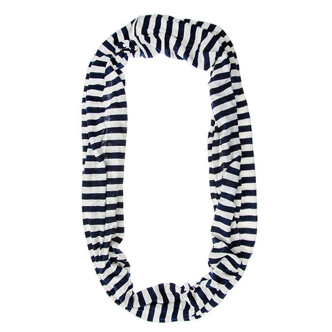 Womens Striped Infinity Scarf Navy