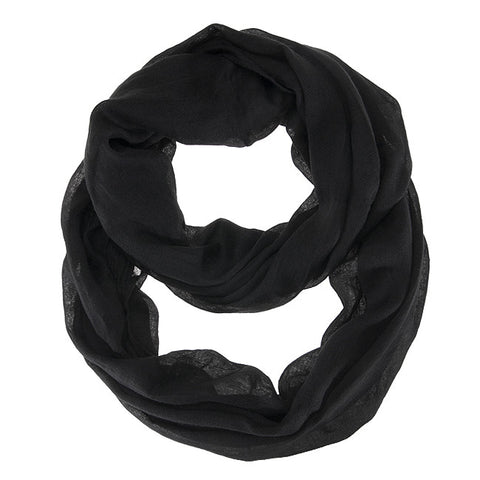 Womens Solid Infinity Scarf Black