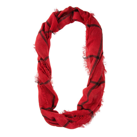 Womens Striped Frayed Infinity Scarf Red