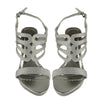 Womens Dress Sandals Satin Cutout Embellished High Heel Shoes Silver