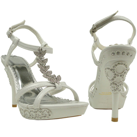 Womens Dress Sandals Angel Wing Rhinestones T Strap High Heel Shoes White