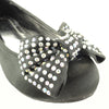 Girls Bow Accent Satin Ballet Flats Black