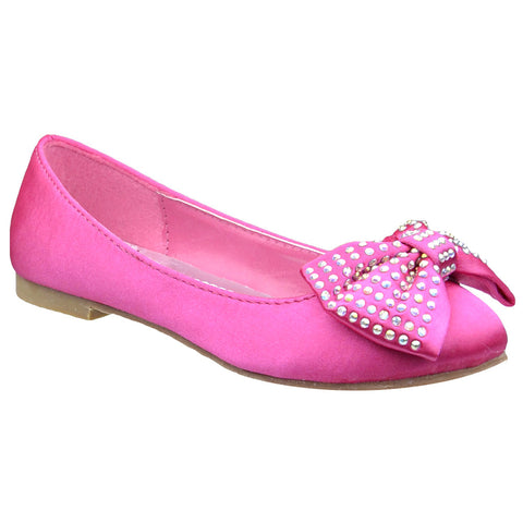 Girls Bow Accent Satin Ballet Flats Fuchsia