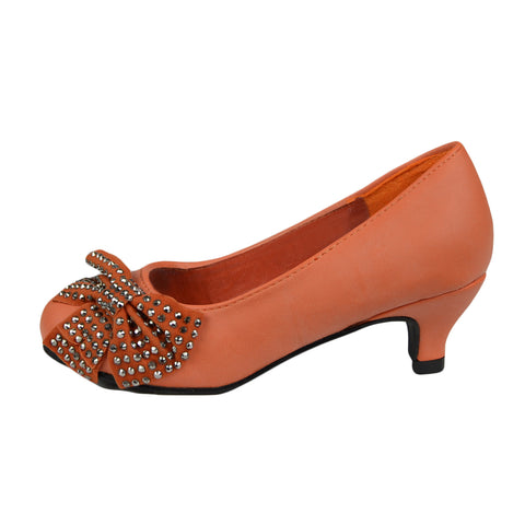 Girls Bow Studded Pumps Orange