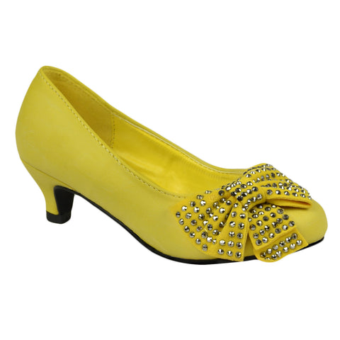 Girls Bow Studded Pumps Yellow