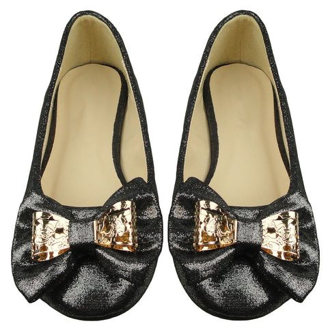 Girls Bow Accent Ballet Flats Black