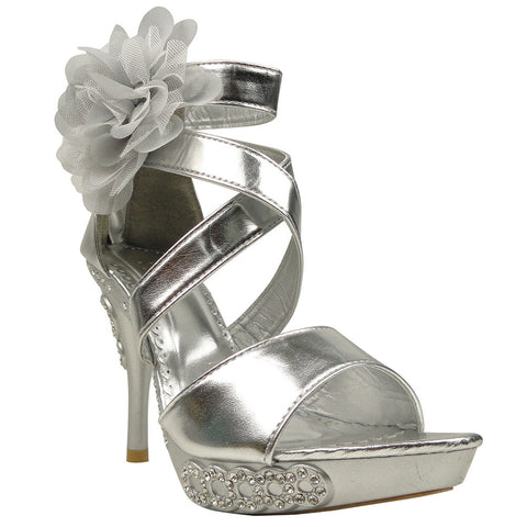 Womens Dress Sandals X-Strap and Tulle Flower Back Zipper Closure Silver