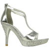 Womens Dress Sandals Embellished Wrap Around Strap High Heel Shoes Silver