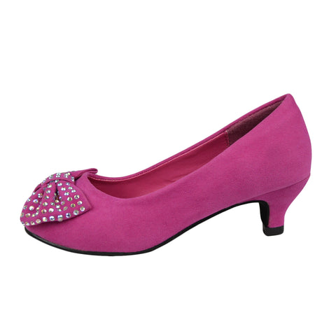 Girls Bow Studded Pumps Fuchsia