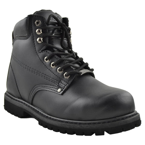 Mens Steel Toe Leather Work Shoes Black