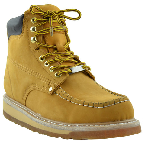 Mens Lace up Work Boots Tan