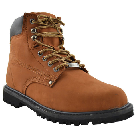 Mens Oil Resistant Work Boots Cognac