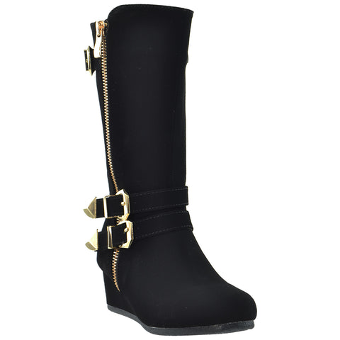 Girls Toddler Youth Knee High Wedge Boots w/ Gold Accent Black