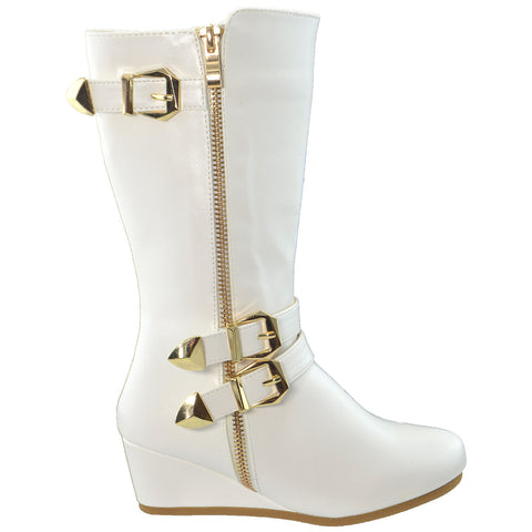 Girls Toddler Youth Knee High Wedge Boots w/ Gold Accent White