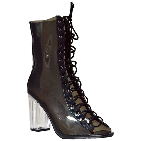 Womens Ankle Boots Lace Up Peep Toe Transparent Lucite Booties Black