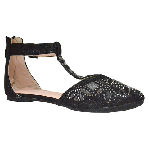 Womens Ballet Flats T-Strap Rhinestone Jewel Pointed Toe D'Orsay Black