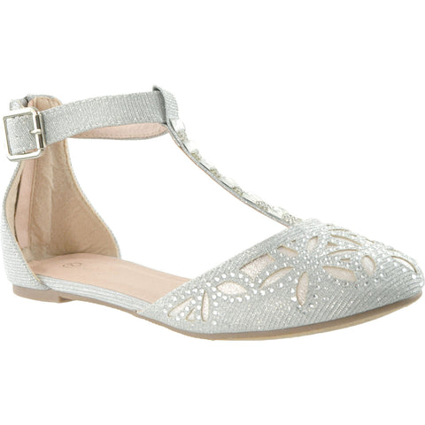 Womens Ballet Flats T-Strap Rhinestone Jewel Pointed Toe D'Orsay Silver