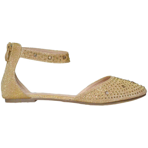 Womens Ballet Flats Rhinestone Pointed Toe Ankle Strap Flat Shoes Gold