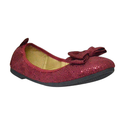 Womens Ballet Flats Slip On Bow Accent Microsuede Elastic Flat Shoes Burgundy
