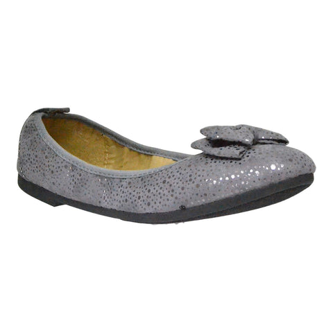 Womens Ballet Flats Slip On Bow Accent Microsuede Elastic Flat Shoes Gray
