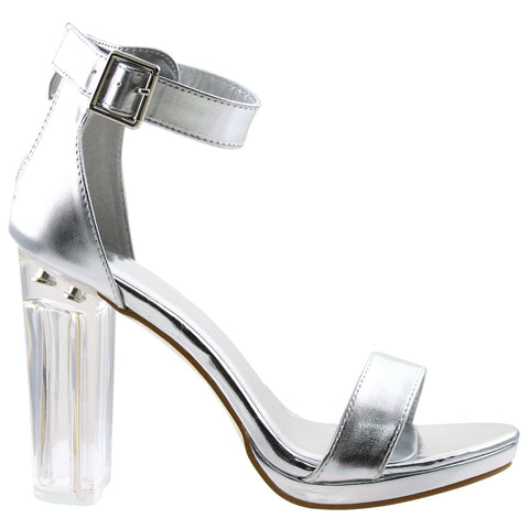 Womens Block Heel Sandals Silver