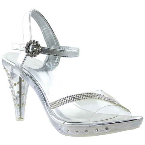 Womens Rhinestone High Heel Dress Sandals Silver