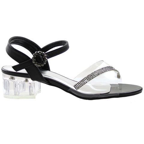 Womens Block Heel Dress Sandals Black