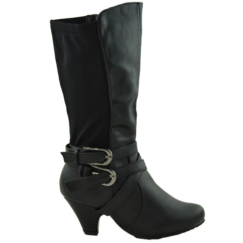 Girls Mid Calf High Heel Boots Black