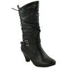 Girls Lace Up High Heel Mid Calf Boots Black