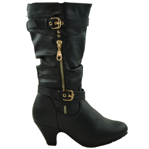 Girls Zipper Trim Mid Calf High Heel Boots Black