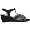 Womens Dress Sandals Braided Rhinestone Strappy Accented Wedges black