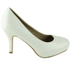 Womens Leather Platform Pumps White