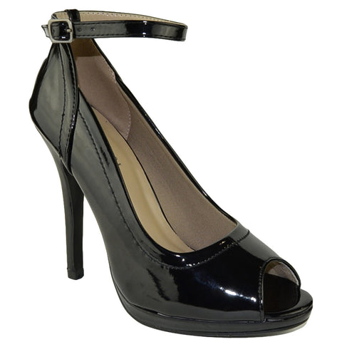 Womens Peep Toe Stiletto Pumps Black