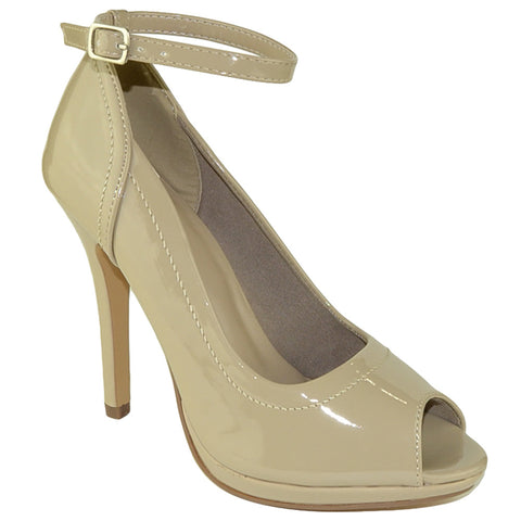 Womens Peep Toe Stiletto Pumps Taupe