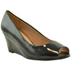 Womens Peep Toe Wedge Pumps Black