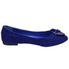 Womens Tassel Accent Studded Bow Ballet Flats Blue
